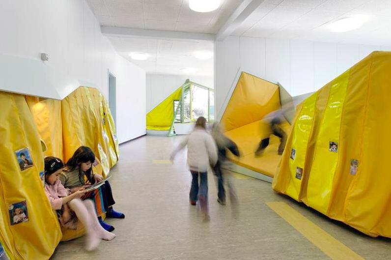 Modern School Interior Constructing Kids