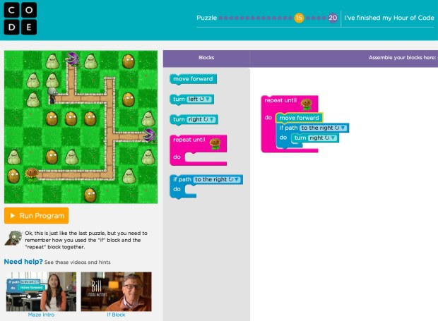 "Blockly tutorial #15 in ""Hour of Code"""
